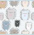 cute porcupine cartoon seamless pattern vector image