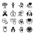 donation giving icons set vector image vector image
