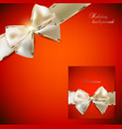 Elegant red background and Gift Card with ribbons vector image vector image