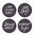 Fast food sticker collection with hand lettering vector image