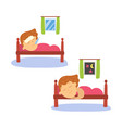 flat cartoon kid doing routine activity set vector image vector image