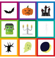 flat icon halloween set of terrible halloween vector image vector image