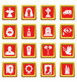 Funeral ritual service icons set red square