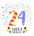 happy birthday for 24 year party invitation card vector image vector image