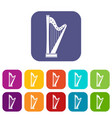 harp icons set flat vector image vector image