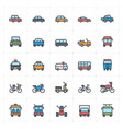 icon set vehicle and transport full color vector image vector image