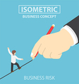 Isometric businessman walking on drawn line vector image vector image