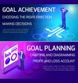 isometrics bright banners business concepts vector image