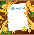 italian cuisine recipe with pasta and herb on wood vector image vector image