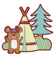line color bear animal with camp next to bush and vector image vector image
