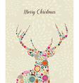 Merry Vintage christmas elements reindeer greeting vector image vector image