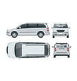 passenger van or minivan car template on vector image vector image