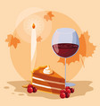 pie with cup wine for thanksgiving day vector image vector image