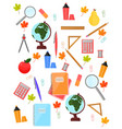 school supplies pattern background back to vector image vector image