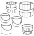 set of bucket vector image