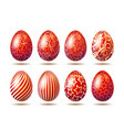 set of easter bright red eggs with golden ornament vector image