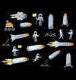set of of space objects vector image vector image