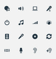 set of simple dj icons vector image vector image