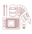 set work elements for graphic design in silhouette vector image vector image