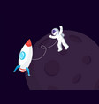 spaceship near moon and spaceman in spacesuit vector image