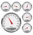 speedometers round speed gage with metal frame vector image vector image