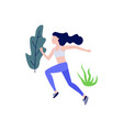 sportive slim girl jogging or running vector image vector image
