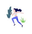 sportive slim girl jogging or running vector image