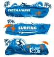 Surfing Banner Set vector image