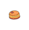 tasty donut sketch cartoon icon vector image