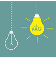 Two hanging yellow light bulbs Idea concept vector image vector image