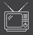 vintage tv line icon household and appliance vector image