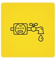 Water counter icon Pipe with drop sign vector image
