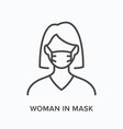 woman in mask flat line icon outline vector image vector image