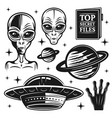 aliens and ufo set paranormal activity elements vector image vector image
