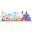 amusement park in flat colorful style vector image