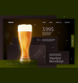beer glass on bright modern site template vector image vector image