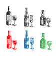 bottles and glasses sketches vector image