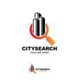 building with searching symbol logo design vector image