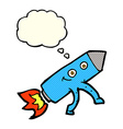 cartoon happy rocket with thought bubble vector image vector image