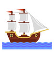 cartoon ship with white sails flat style vector image
