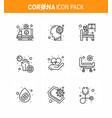 corona virus 2019 and 2020 epidemic 9 line icon vector image vector image