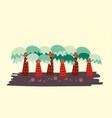 cute cartoon vibrant abstract palm tree plantatio vector image vector image