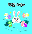cute easter bunny in the hole with eggrabbit vector image