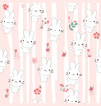 cute rabbit cartoon seamless pattern vector image vector image
