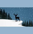 deer standing on the snow hill vector image vector image