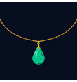 emerald pendant icon with gold chain on dark vector image