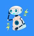 faulty broken robot emits electrical discharges vector image