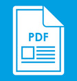 file pdf icon white vector image vector image