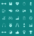Fitness color icons on green background vector image