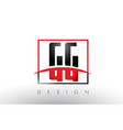 gg g g logo letters with red and black colors and vector image vector image